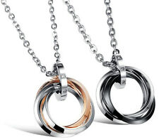 Women&Men Stainless Steel crystal Three rings pendant Couple Necklaces Love Gift