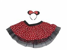 Minnie Mouse Style Tutu Ears Headband Bow Red White Polka Dot 80's Fancy Dress