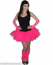 4 Layer Neon Pink Tutu Skirt Legwarmers Gloves Ladies 80's Fancy Dress Costume +