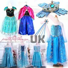 UK Girls Frozen Princess Queen Elsa Anna Cosplay Costume Party Fancy Dress