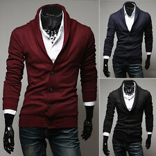 NEW Autumn Men Slim Fit Button Cotton Knit V-Neck Casual Jumper Sweater Cardigan