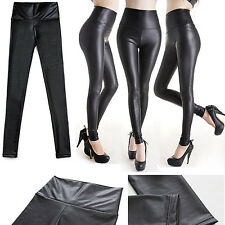 Sexy Lady High Waist Stretchy Faux Leather Look Tight Leggings Pants MATT BLACK