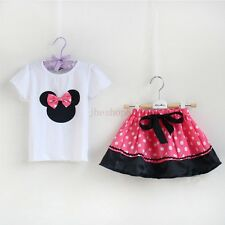 NEW Baby Toddler Kids Girls Minnie Mouse Bow Skirt/Bloomer Shirt/Top Outfit Set