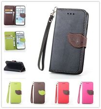 For Mobile Phones Leaf Leather Flip Wallet Pouch Stand Soft Protect Case Cover