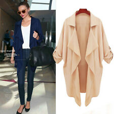 Fashion Women's Double Breasted Loose Long Trench Cardigan Coat Jacket Outerwear