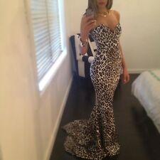Sexy Leopard Women Sleveless Prom Ball Cocktail Party Formal Evening Gown Dress