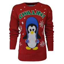 Ladies Christmas Jumper Chill In Penguin Print Knitted Top Womens Size 8-14