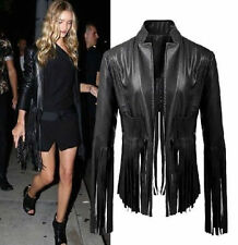 Punk Women Tassels Fringe Motorcycle Faux Leather Biker Jacket Coat Black S M L