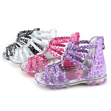 Girls Toddler Baby Sandals Braided Strappy Roman Shoes Walk Flats Zipper 2-5.5