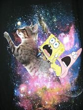 NEW!  SpongeBob SquarePants & Patrick Riding A Cat in Outer Space T Shirt