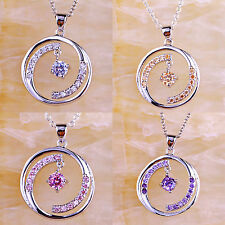 White & Pink Topaz Amethyst Morganite Gemstone Silver Pendant Necklace Free Ship
