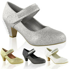 Women Wedding Diamante Prom Low Mid High Heel Bridal Court Shoes Size