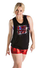 NEW DANCE TANK TOP SHIRT Dance Star  Black Red Purple Sequins All Sizes