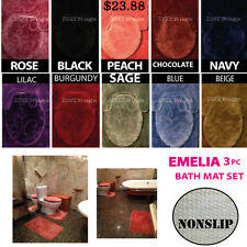 DELUXE EMELIA 3 PIECE BATH ROOM MAT RUG SET WITH NON SLIP BACKING SOFT PILE !!
