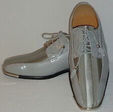 Expressions 4925 Mens Gray Silvertone Satin Modern Formal Tuxedo Tux Dress Shoes