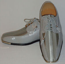 Expressions 4925 Mens Gray Silver Satin Shiny Metal Toe Formal Tux Dress Shoes