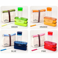 Lock&Lock Mini Lunch Box Bento Set w/Bottle Chopstics Insulated Bag BPA Free