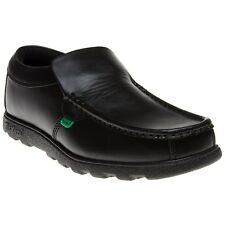 New Mens Kickers Black Fragma Slip On Leather Shoes Loafers And Ons