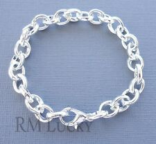 Kid's Children Teen Link Chain Bracelet 9x7mm Silver plated. Fit Clip ON Charms