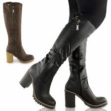 LADIES WOMENS CHUNKY BLOCK HEEL KNEE HIGH MID CALF GRIP SOLE RIDING BOOTS SHOES