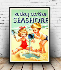 A day at the seashore , Old Childrens book cover poster reproduction.