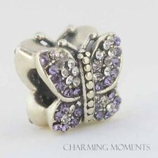 Sterling Silver 925 European Charm Sparkling Butterfly Purple CZs Bead 99175