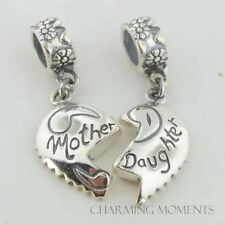 Sterling Silver 925 European Charm Silver Mother / Daughter Heart Bead 99238