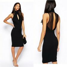 TFNC Bodycon Dress With High Neck And Mesh Inserts Black Sizes UK 8,10,12