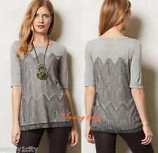 NEW Anthropologie Marion Lace Top By Bordeaux, Grey Sz XS, NIP, flattering! Last