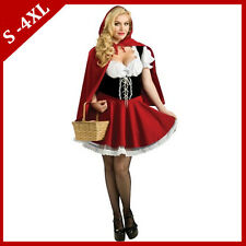 Deluxe Little Red Riding Hood Fairy Tale Costumes Ladies Fancy Dress Plus 6-18