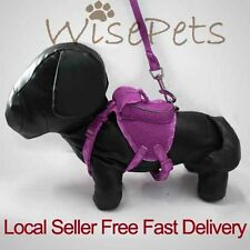 Adjustable Pet Dog Soft Mesh Harness Backpack With Matching Leash Lead Pink