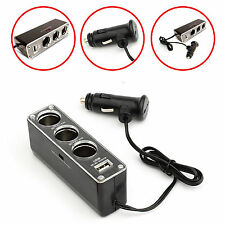 CAR CHARGER SPLITER W/3 CIGARETTE SOCKET & 1 USB FOR VARIOUS iPAD ALL TABLETS