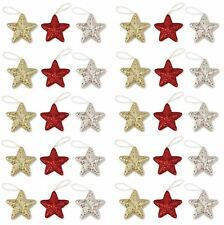 6 Christmas Tree Hanging Glitter Star Bauble Home Party Decorations Ornament Fun