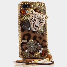 iPhone 6 6S / 6S Plus 5S Bling Crystals Case Cover Gold Brown Leopard