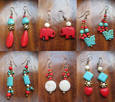 TURQUOISE  EARRING  COLORFUL  COLLECTIBLES FASHION CUTE  LADY GIRL WOMEN GIFT