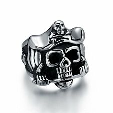 Men's PUNK Gothic Biker Silver Black Stainless Steel Cool Skull Ring Size 6-11