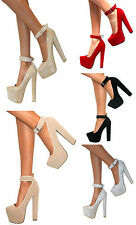 WOMENS CHUNKY BLOCK HIGH HEELS ANKLE CUFF STRAP PLATFORM COURT SHOES SANDALS