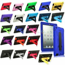 Hybrid Heavy Duty Shockproof HARD+SOFT Case Cover Stand for Apple iPad 2 3 4