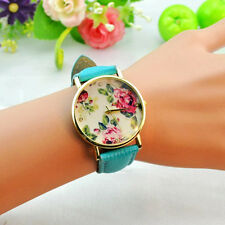 Fashion New Womens Floral Dial Pu Band Quartz Watch Party Dress Anlog Wristwatch