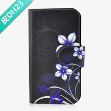 Hot sale chinese style Black Flower flip PU leather case cover for Samsung Phone