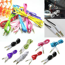Flat Noodle Stereo Audio AUX 3.5mm Male Cable Adapter Cord for PC iPod MP3 Car