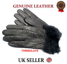 WOMENS LADIES GENUINE REAL LEATHER GLOVES LINED FUR THINSULATE WINTER WARMGIFT