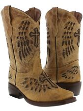 kid's children girl or boys toddler tan leather cowboy cowgirl boots wings cross