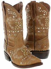 kids girls toddlers light brown cowgirl boots leather western cowboy studs new