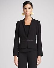 $338 EILEEN FISHER Black Tropical Suiting w Eco Poly Stand Collar Jacket S L NWT