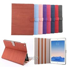 Fashion Wood Pattern Folio Leather Stand Smart Case Cover For Apple iPad Air 2