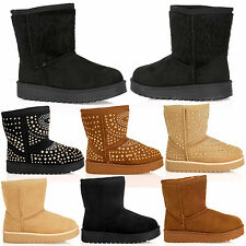K2H Girls Flat Fur Lined Snugg Ankle Boots Casual Winter Warm Kids Juniors Shoes