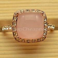 Hot Sale 18K Rose Gold GP  Crystal Pink OpaL Amazing Engagement Ring US TS