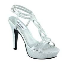 Silver Glitter Holiday Party Prom High Heel Strappy Platform Bridal Sandal Shoe