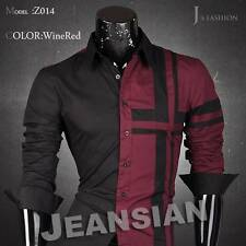Jeansian Mens Shirts Dress Casual Slim Fit Fashion Tops 4 Colors 5 Sizes Z014